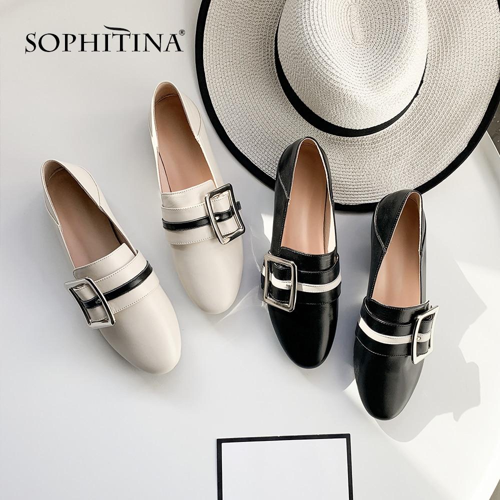 black Mo60 Mules Arrondi Sophitina Patchwork Appartements Confortable Supérieure Bout Qualité Métal De Décoration Vache Femmes Mode Cuir Beige Chaussures En TTqHwO