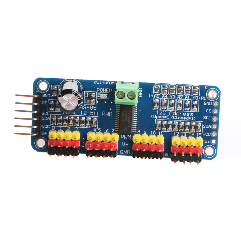 PCA9685 16-Channel 12-bit PWM Servo Motor Driver I2C IICModule For Arduino Robot цена 2017