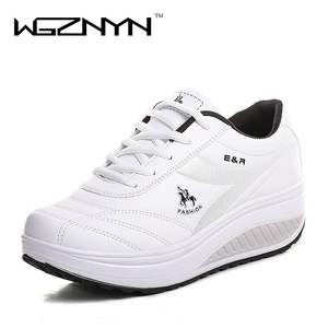 Image 1 - WGZNYN 2020 Slimming Shoes Women Fashion Leather Casual Shoes Women Lady Swing Shoes Spring Autumn Factory Top Quality Shoes