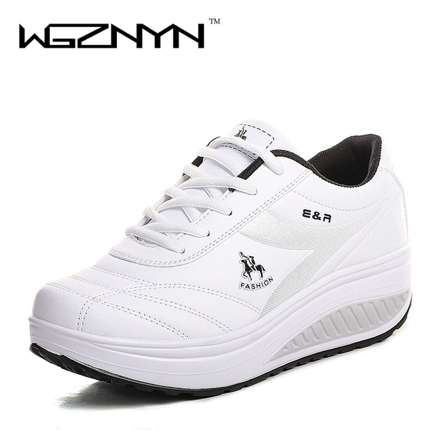 WGZNYN 2020 Slimming Shoes Women Fashion Leather Casual Shoes Women Lady Swing Shoes Spring Autumn Factory Top Quality Shoes