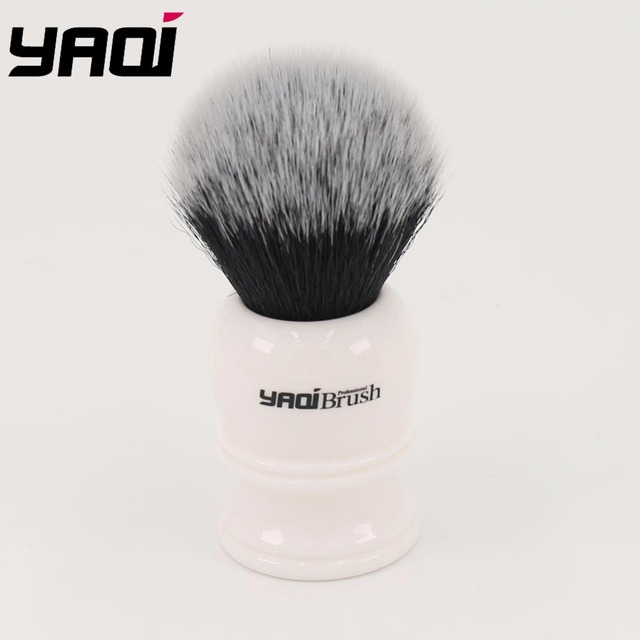 22mm Synthetic Hair Tuxedo Knot White Resin Handle Shave Brush Man