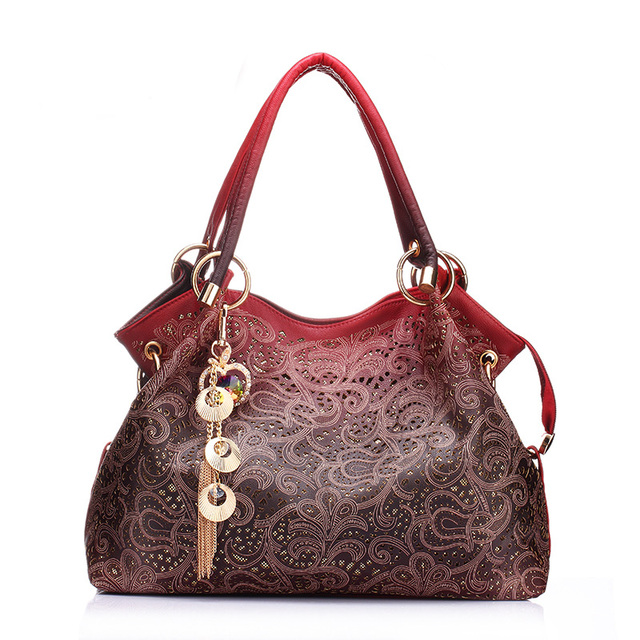 Vintage Ethnic Gradient Red Shoulder Bags Brand Designer Flower Pattern PU Leather Female Handbag Chain Tassel Tote Bag Women