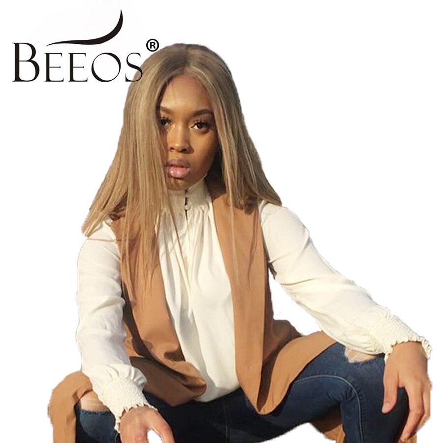 Beeos 150% 360 Dentelle Frontale Perruques pour Femmes Partie Libre Droite Miel Blonde Perruques avec Bébé Cheveux Brésiliens Remy Cheveux pré Plumée