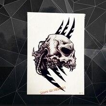 Black Skull Head Waterproof Temporary Tattoo Men Armband Body Arm Tattoo Sleeves 21x15CM Flash Fake Metallic Tatoo Totem Blade