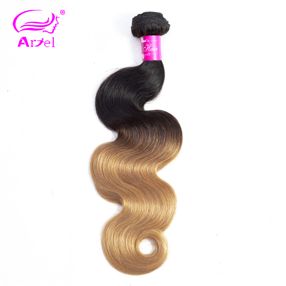 ARIEL Pre-Colored Hair 1/3 Bundles Blonde Brazilian Body Wave Hair Weave Bundles Non Remy 2 Tone 1b 27 Ombre Human Hair Bundles