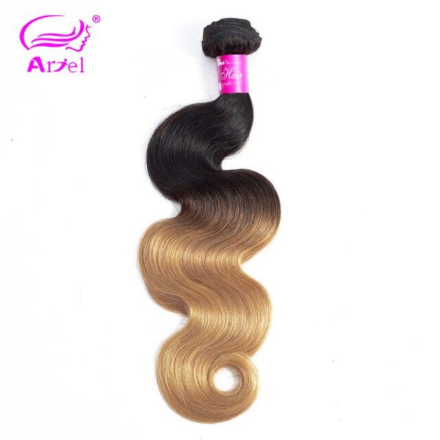 ARIEL pelo precoloreado 1/3 paquetes de pelo rubio brasileño onda del cuerpo paquetes de pelo humano Ombre paquetes de 2 tonos 1b 27 cabello Remy