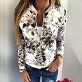 Primavera outono do revestimento do revestimento das mulheres da moda vintage floral impresso magro ocasional zíper bombardeiro de beisebol outerwear femininas