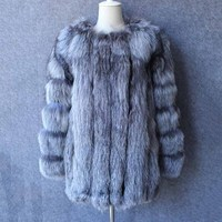2018 New Winter High Quality Women Natural Genuine Silver Fox Fur Coat Vests Real Fur Jacket Fashion Outerwear warm winter femme