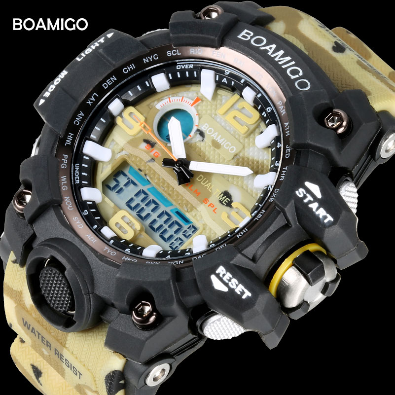 Men Sport Watches BOAMIGO Brand LED Digital Watches Military Quartz Watch Rubber Strap 50M Waterproof Swimming Wristwatch F5100 alike a1278 waterproof digital quartz sport wristwatch timepiece with rubber band for men blue