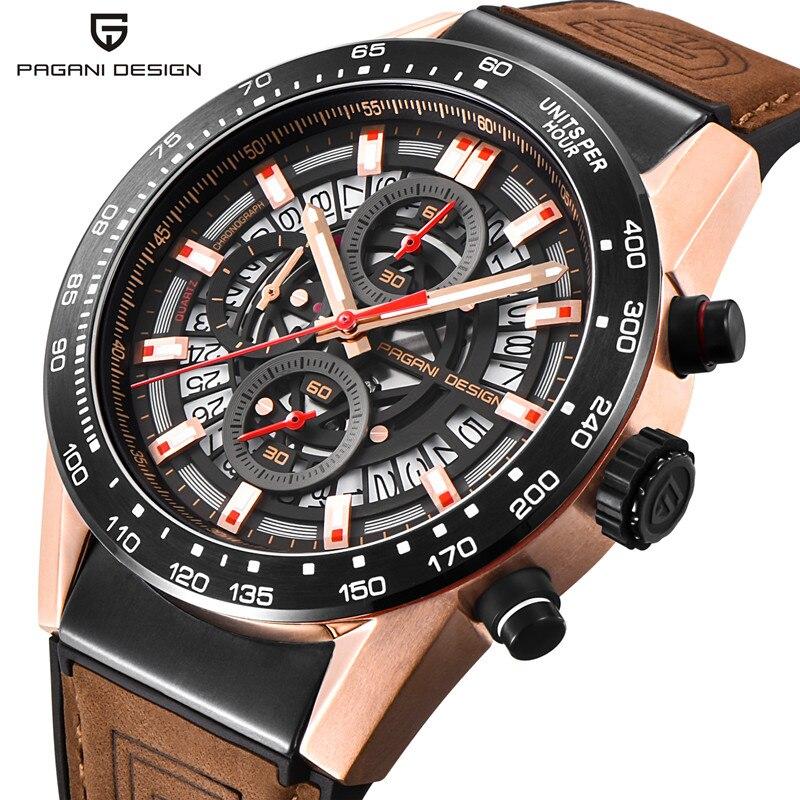 PAGANI DESIGN Fashion Business Men Watch 30M Waterproof Leather Male Sport Watch Chronograph Men's Watches erkek kol saati fashion business men