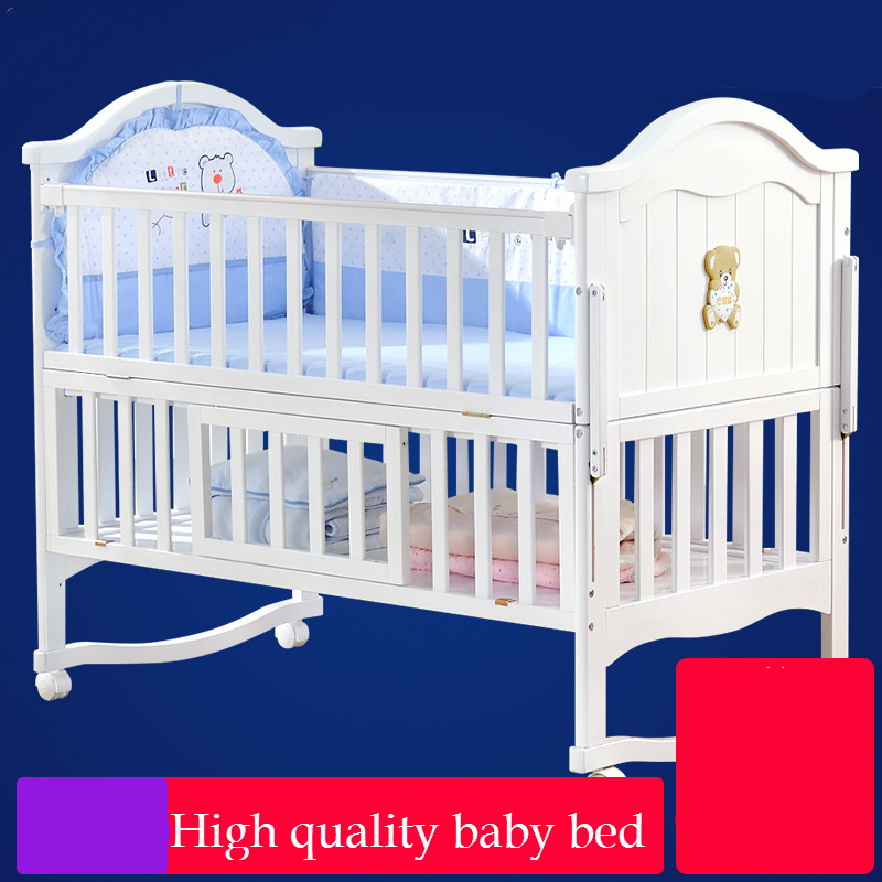 High quality solid wood baby bed multi functional newborn crib child shaker bed game playpen neonatal