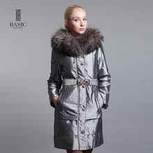 BASIC-EDITIONS 2016 Womens Winter Jackets and Coats Slim Parka Raccoon Fur Hood and Belt Coats Women Cotton Coat M0939
