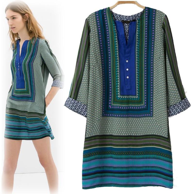 Retro Cotton Maxi Dress Chiffon Vestidos Casual Knee-Length Loose Sleeve Vestido Floral Stylish - Beauty Trends Store store
