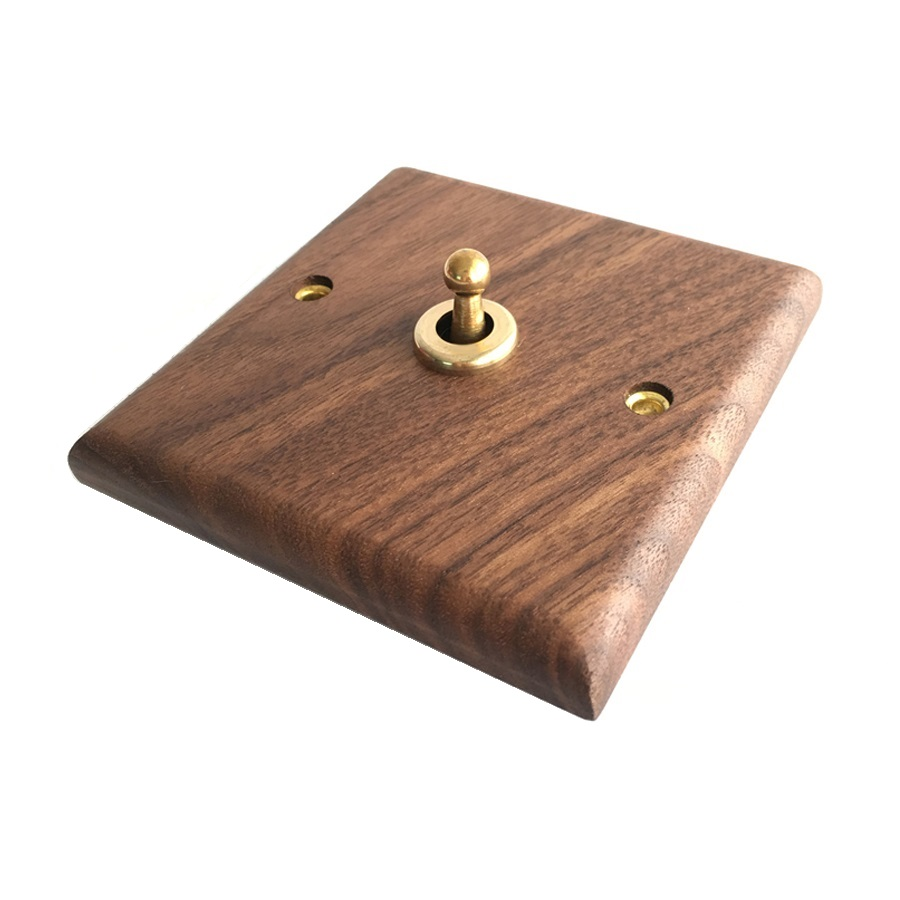 Walnut Wood Panel Brass Toggle Switch Antique Wooden Wall Switch