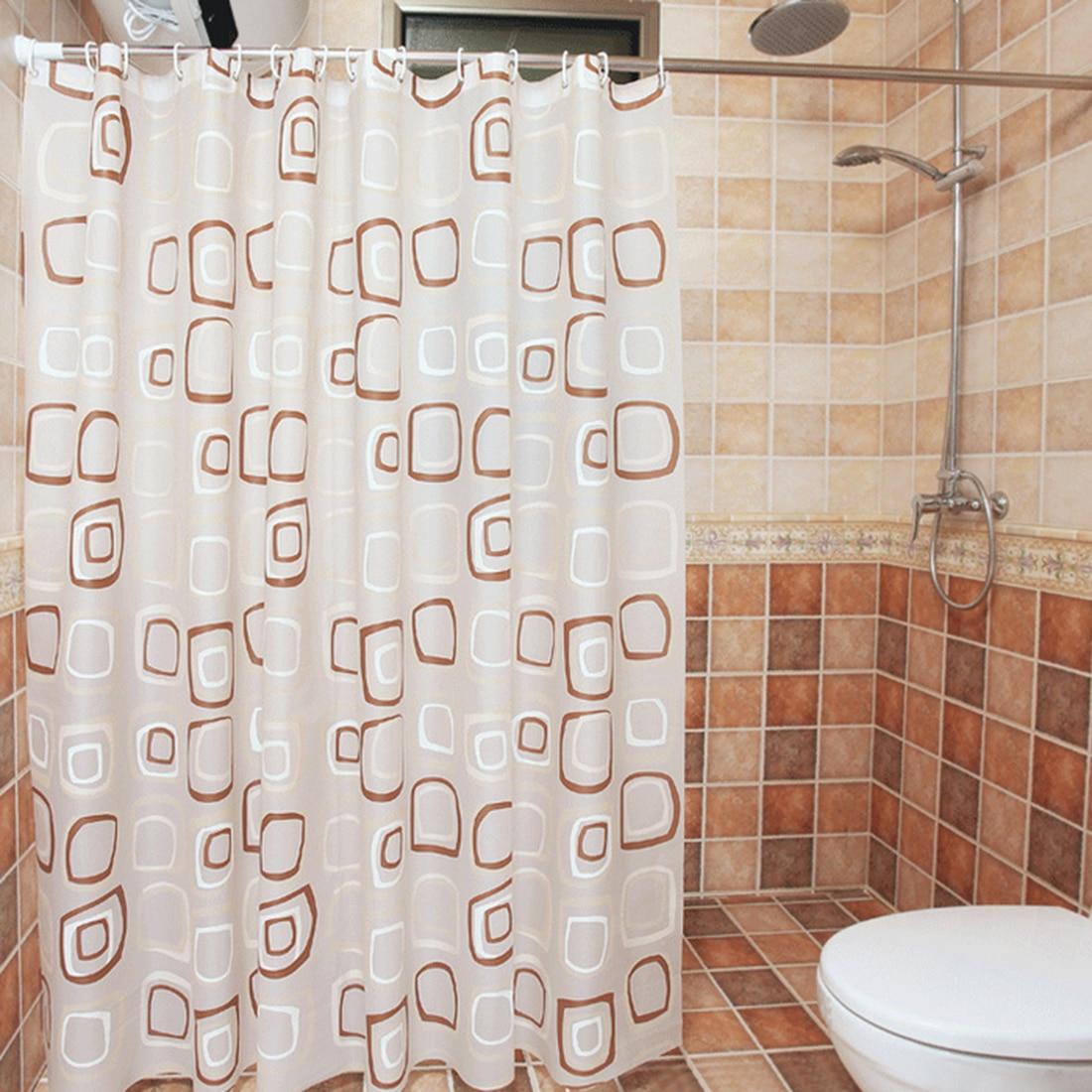 7 Sizes PEVA Thicken Geometric Figure Shower Curtain Bathroom Waterproof Bath Curtain