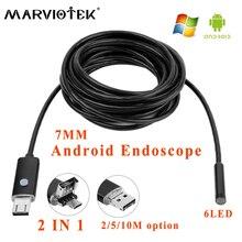 ФОТО Endoscope 7mm 2in1 2/5/10M HD car endoscope camera smart Android phone OTG Borescope snake Tube USB Endoskop Inspection Camera