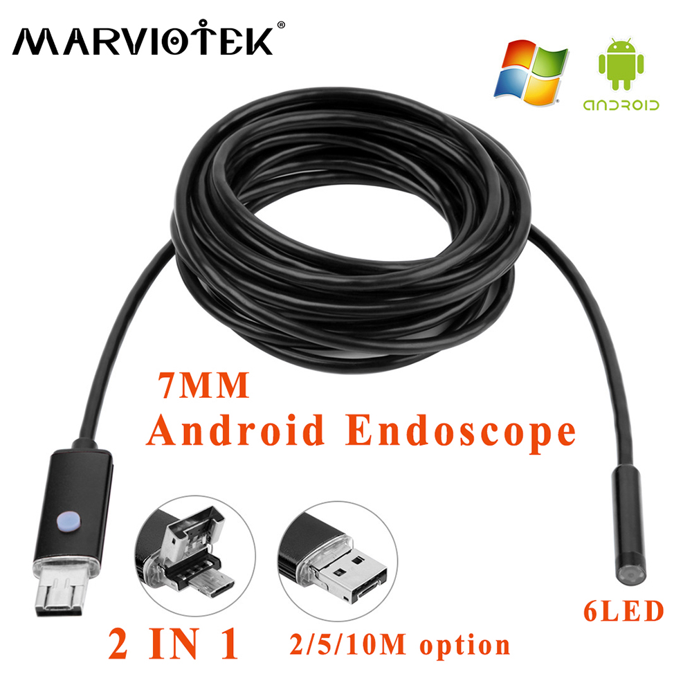 7mm 2in1 2/5/10M 6LED endoscope camera Android phone USB endoscope 480P IP66 surveillance camera Borescope Inspection camera