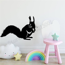 Wall Sticker Squirrel With A Nut Home Decor Kidsroom Decoration Art Vinyl Removeable Mural Poster Beauty Ornament LY704 цена и фото