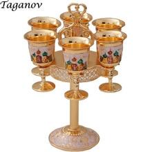 Seven-piece Set Russian wine cup set gold gift Barware drinkware accessories vodka glass shot glasses Bar Sets wine rack shelf недорого