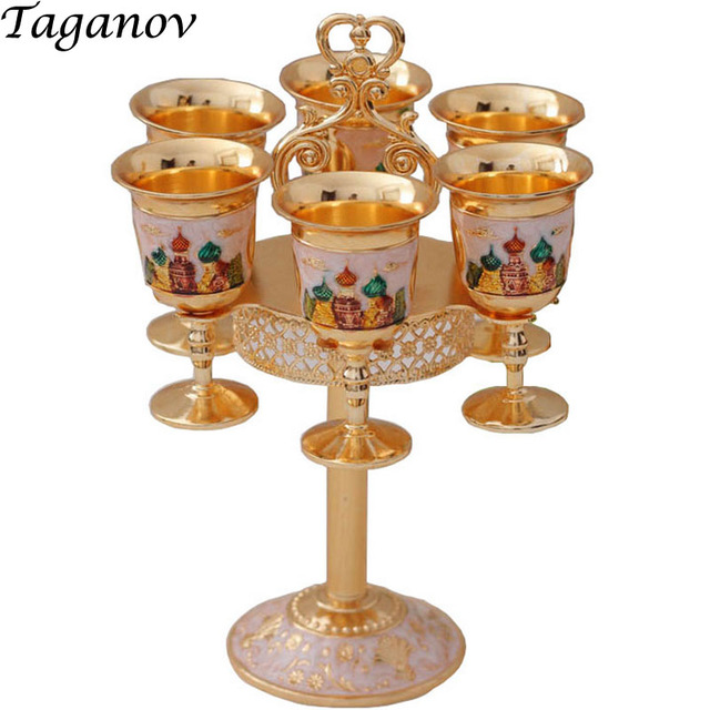 Charming Seven Piece Set Russian Wine Cup Set Gold Gift Barware Drinkware  Accessories Vodka Glass Shot