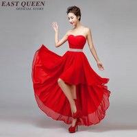 modern chinese dress women elegant bare shoulder dress red bridesmaid strapless backless cheap wedding party KK1247