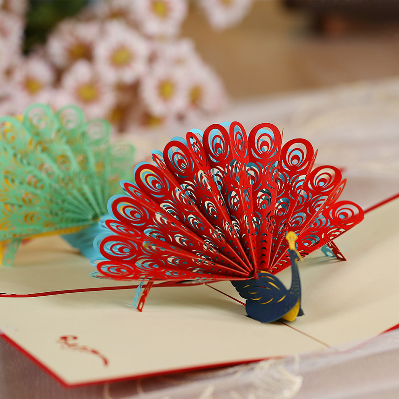 Diy custom peacock greeting 2016 christmas card stereoscopic 3d diy custom peacock greeting 2016 christmas card stereoscopic 3d birthday greeting card business teacher in business cards from office school supplies on m4hsunfo