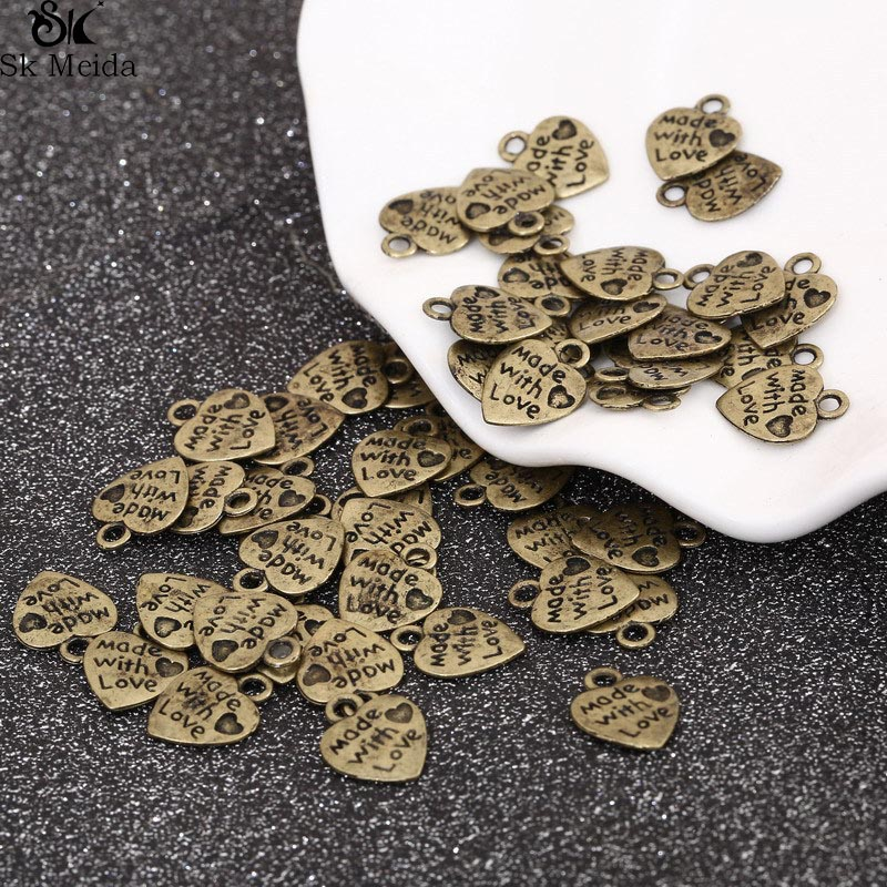 50 Pieces/Lot 13*9.5mm Love Heart Accessory Supplies For Jewelry DIY Sign Made With Love Accessory For Bracelet Necklace TK-104