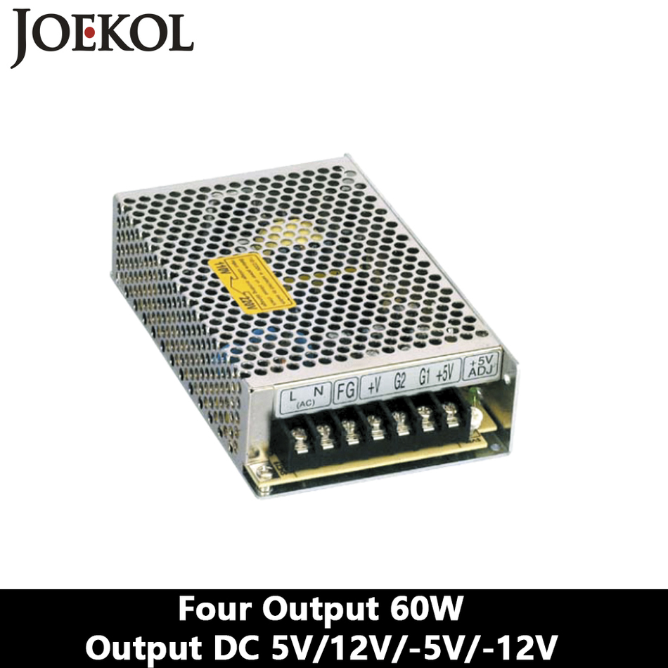 Four Output Switching Power Supply 60W 5V 12V -5V -12V,Ac Dc Converter,110V/220V Transformer To DC 5V/12V/-5V/-12V switching power supply adapter ac 90v 240v to dc 5v 300ma 1 5w buck converter voltage regulator driver module