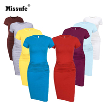 Missufe Solid Cotton Womens Bandage Dress Short Sleeve O Neck Bodycon T Shirt Dresses Pencil Ruched Sundress Summer