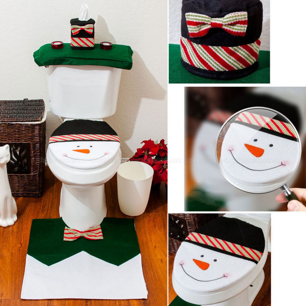 3 Pcs/Set For Happy Christmas Snowman Toilet Cover Tank Cover Contour Rug  Bathroom Mat Set Party Decoration Supplies