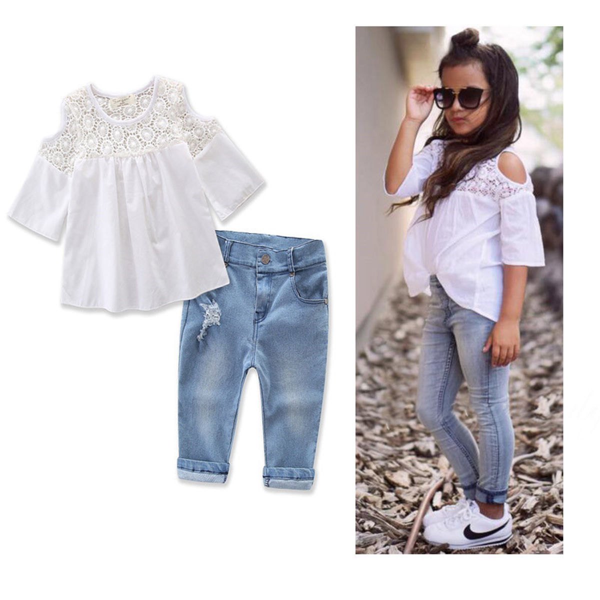 cbc31909c9ef Baby Girls Summer Clothes Children Set Kid Hollow Lace T Shirt Off Shoulder  Blouse Jeans Hole Denim Pants Outfits 2-7 Years