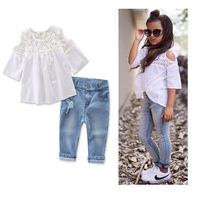 Baby Girls Summer Clothes Children Set Kid Hollow Lace T Shirt Off Shoulder Blouse Jeans Hole Denim Pants Outfits 2-7 Years