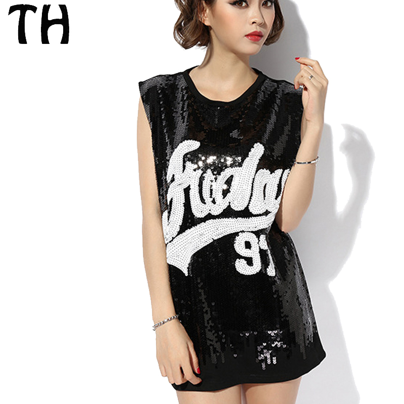 2018 Letter Sequined Women Tank Tops Summer Sleeveless Breathable Fashion Casual Vest Femme #161163
