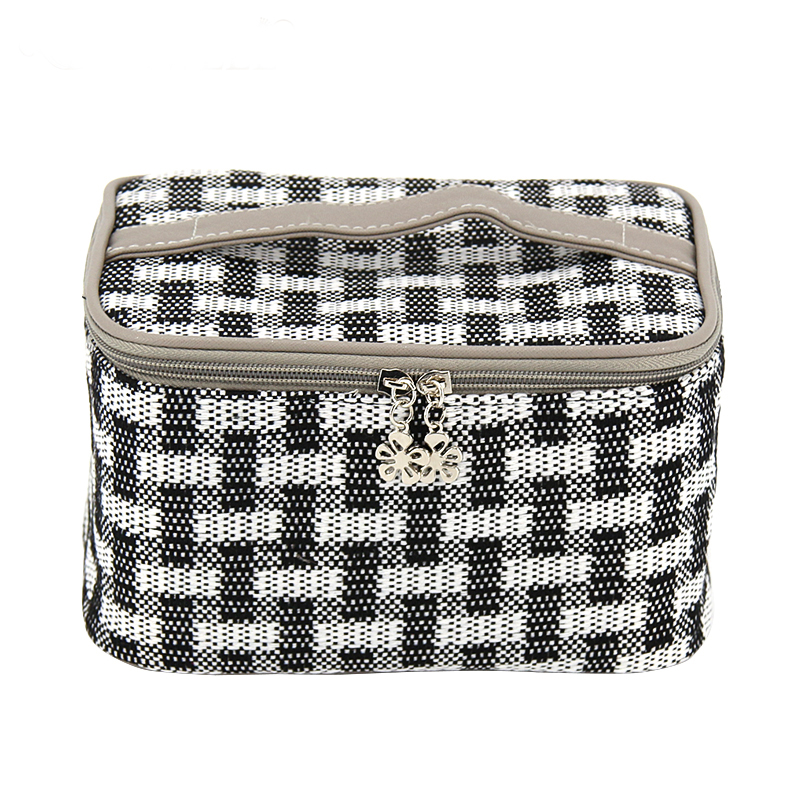 Cotton Plaid Square Travel Waterproof Storage Makeup Bag For Women Organizer Cosmetic Jewelry Handbag For Desktop Business Trip