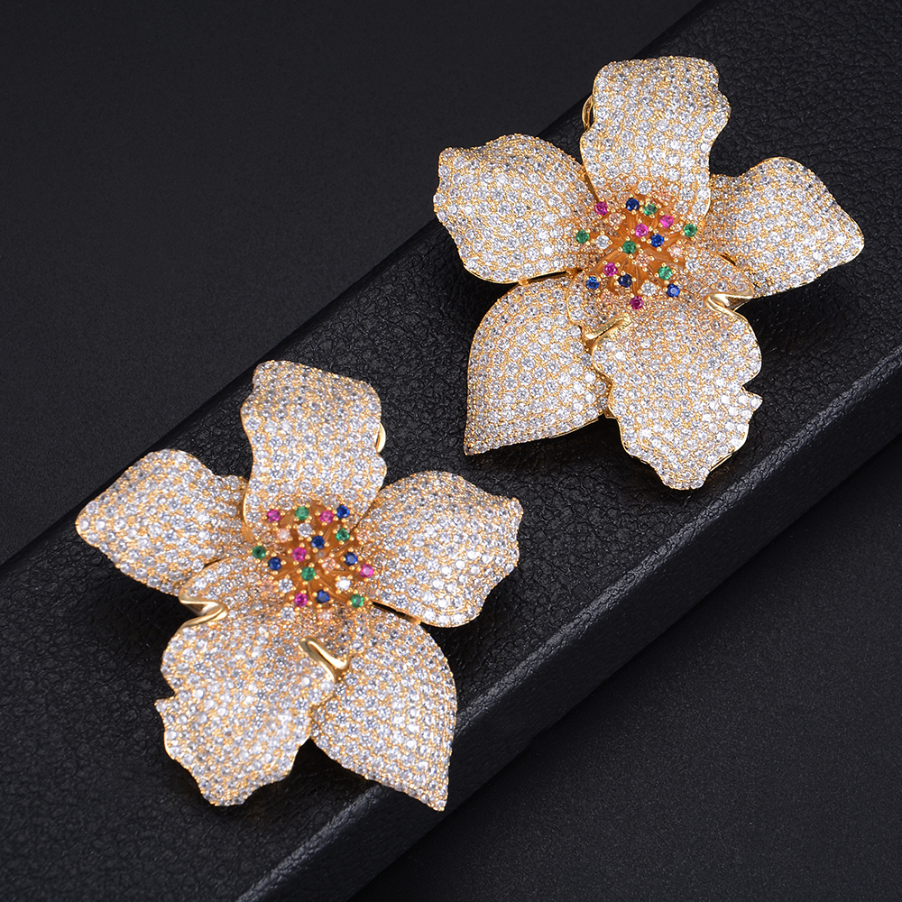 GODKI 49mm Luxury Oversized Big Flower Blossom Floral Full Mirco Paved Crystal Zircon Naija Wedding Earring