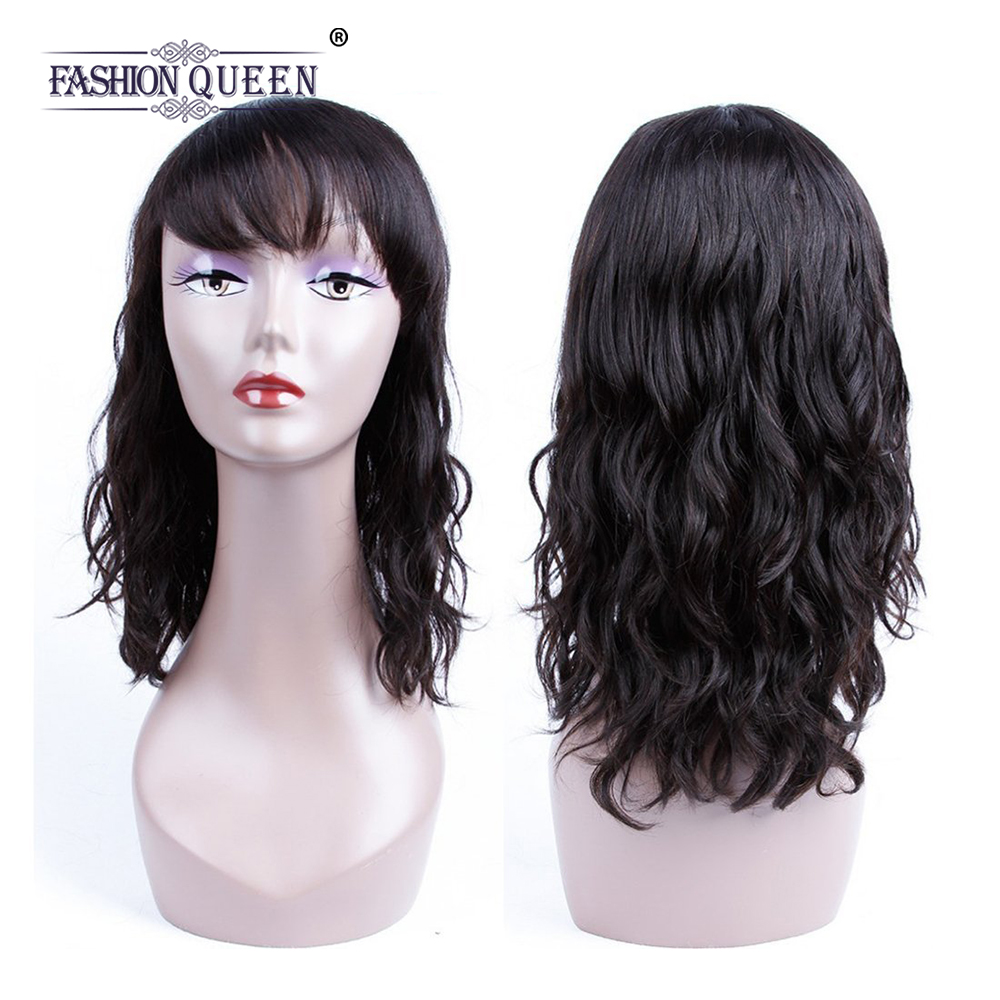 Lace Wigs Punctual Allrun Human Hair Wigs With Bangs Malaysia Ocean Wave Brazilian Human Hair Wigs Non Remy Hair Short Wigs Full Machine Natural Sale Price