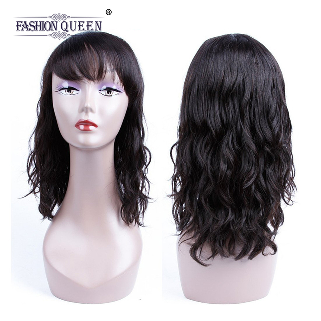 Fashion Queen Short Wavy Lace Human Hair Wig With Bangs Non Remy