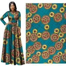 6 yard / lot Spring 2019 New African National Garment fabric geometric Batik printed shirt hanging african cotton