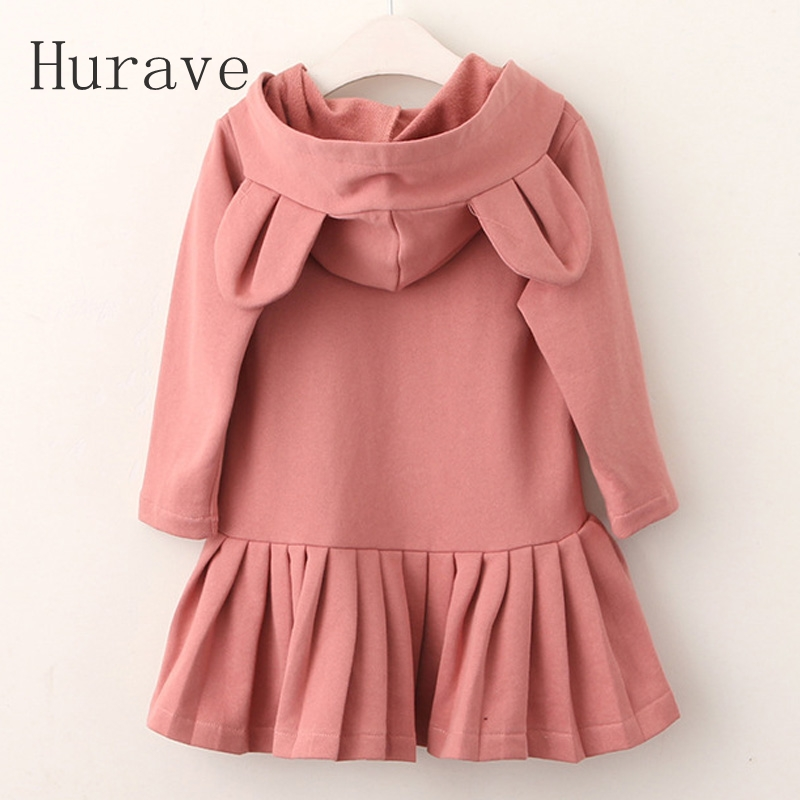 Hurave Girls Hooded Dress Baby Girls Rabbit Ears Ruched Robe Fille 2017 Autumn Long Sleeve Children Clothing Dress jtc пневмогайковерт ударный мини jtc 5301