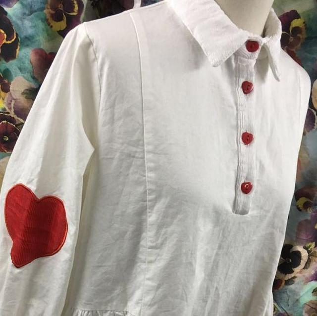 f3ccb824b4ad lolita auutmn long sleeve white striped shirt cotton love button embroidery loose  shirt dress M078