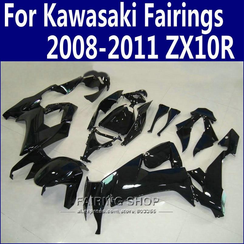 Abs Fairings For Kawasaki Ninja zx10r 2008 2009 2010 2011 08 09 10 11 Glossy black Fairing kit +Customize free n11