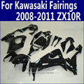 Abs Fairings For Kawasaki Ninja zx10r 2008 2009 2010 2011 08 09 10 11 Glossy black Fairing kit +Customize free n11