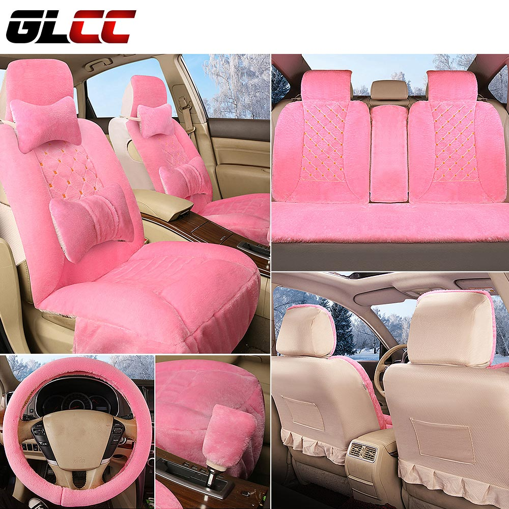 6pcs Imitation cashmere thicked anti-skid on the seat of the cars covers for car all seats set  faux fur warm heated hot sale car seat back covers protectors for children protect back of the auto seats covers for baby dogs drop shipping