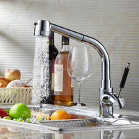 Copper Kitchen Faucet Pull Out Hot And Cold Rotating Mixer Tap With Water Filter Double Plumbing