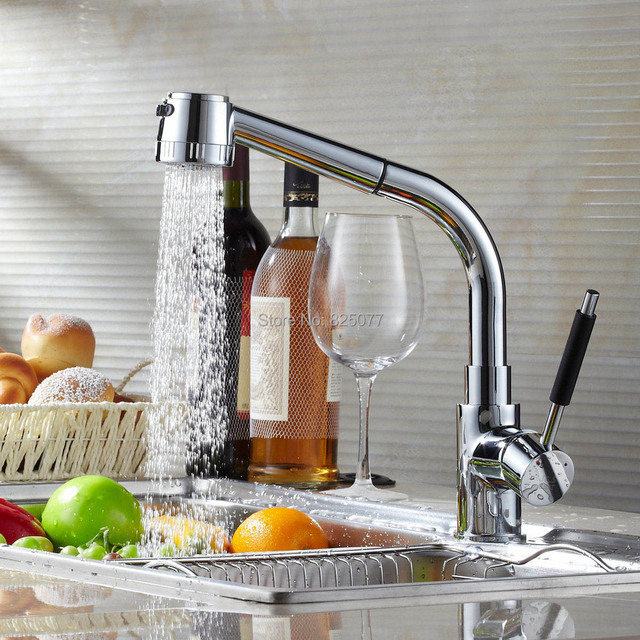 Copper kitchen faucet pull out hot and cold rotating mixer tap ...