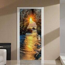 Samoprzylepne naklejki na drzwi 3D zachód słońca plaża krajobraz obraz olejny tapety salon jadalnia pokój Home naklejki dekoracyjne 3D naklejki