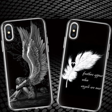 Luxury Wing Angel Girls Fashion Feathers Quill English Letters Silicone Phone Case For iphone X 6 6s Plus 7 7Plus 8 8Plus Cover(China)
