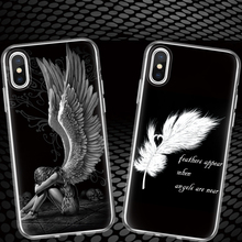 Luxury Wing Angel Girls Fashion Feathers Quill English Letters Silicone Phone Case