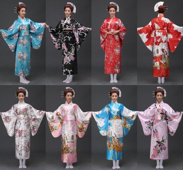 17 styles Vintage Japanese geisha Kimono Yukata Haori Costume Retro women  Dress Obi Cosplay Gown free shipping