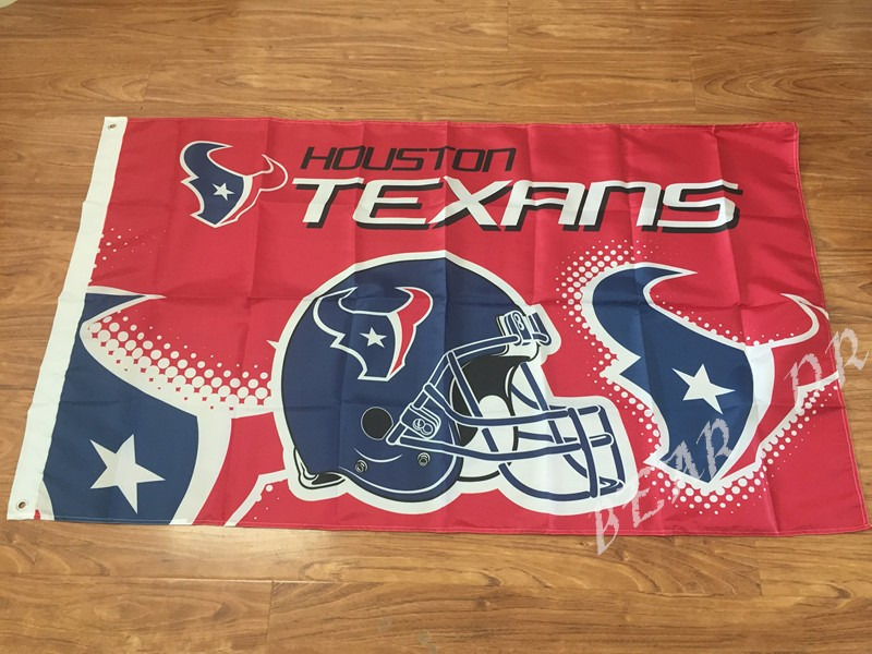Houston Texans football team pennant 90 * 150CM US flag decorated helmet flag 100D Super Bowl NFL flag logo free shipping